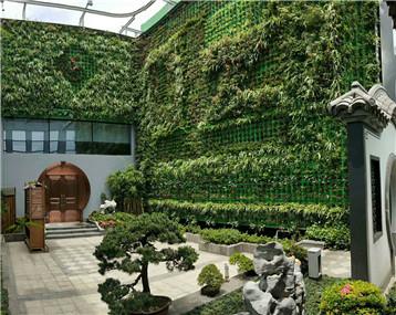 22楼上的锦鲤,由13米高的植物墙过滤