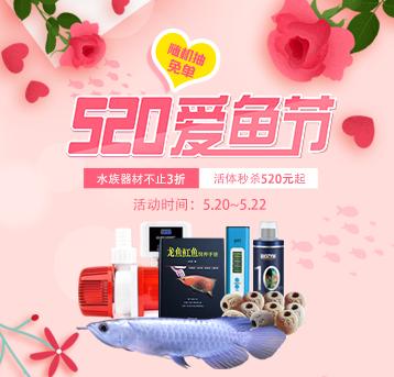 520爱鱼节商城活体520元起、器材不止3折,随机抽免单!